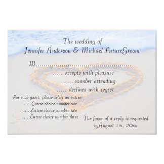 Heart in Sand Wedding RSVP 3.5x5 Paper Invitation Card