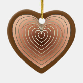 Heart in shades of brown, chocolate background ceramic ornament