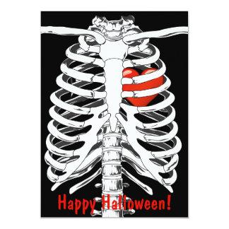 Heart In Skeleton Cage Halloween Invitation Card