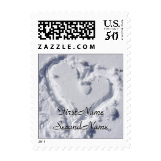 Heart in Snow personalized Postage