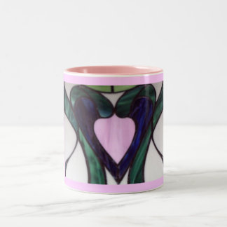 heart in stained glass Two-Tone coffee mug