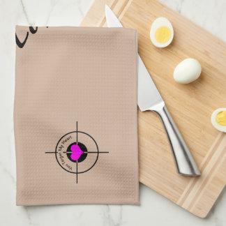 Heart in target hand towel