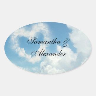 Heart in the Clouds, Blue Sky Romantic Love Oval Sticker