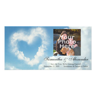 Heart in the Clouds Blue Sky Romantic Love Personalized Photo Card