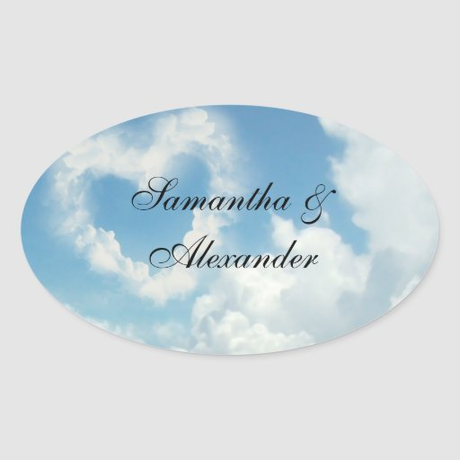 Heart in the Clouds, Blue Sky Romantic Love Oval Sticker