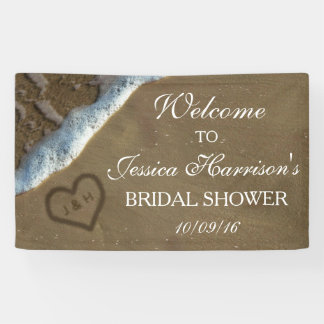 Heart In The Sand Beach Bridal Shower Banner