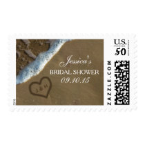 Heart In The Sand Beach Bridal Shower Postage