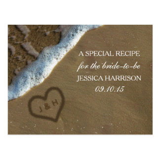 Heart In The Sand Beach Bridal Shower Recipe Cards Postcard