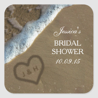 Heart In The Sand Beach Bridal Shower Stickers