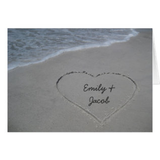 Heart In The Sand Beach Happy Anniversary Card at Zazzle