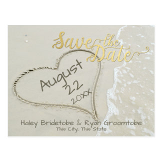 Heart in the Sand Beach Save the Date Postcard