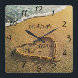 "Heart in the Sand Beach Shore Tropical Ocean View Square Wall Clock<br><div class=""desc"">Heart in the Sand Beach Shore clock features a beautiful, unique, custom, personalized design with a romantic summer tropical beach island background with a heart written, drawn in the sand along the blue ocean water to signify love and romance. Personalize this great item with the bride and groom names and...</div>"