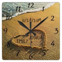 Heart in the Sand Beach Shore Tropical Ocean View Square Wall Clock