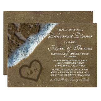 Heart In The Sand Beach Wedding Rehearsal Dinner Invitation