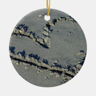 Heart In The Sand Ceramic Ornament