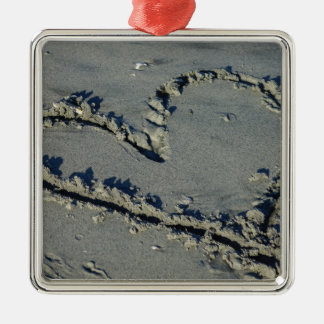 Heart In The Sand Metal Ornament