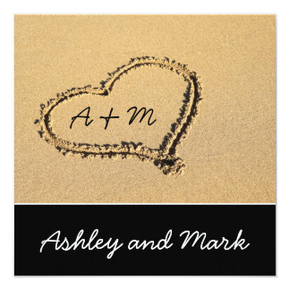Heart in the Sand Monograms Wedding Invitation
