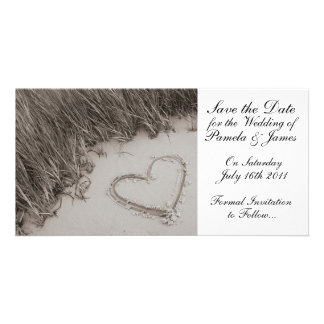 Heart in the Sand Save the Date Card