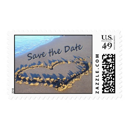 Heart in the Sand Save the Date Postage Stamps