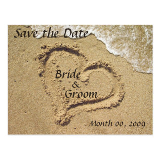 Heart in the Sand Save the Date Postcards