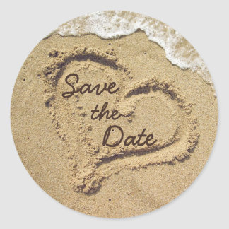 Heart in the Sand Save the Date Stickers