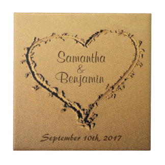 Heart in the Sand Save the Date Wedding Names Tile