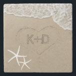 "Heart in the Sand Starfish Summer Beach Wedding Stone Coaster<br><div class=""desc"">Heart in the Sand Starfish Summer Beach Wedding Stone Coaster.</div>"
