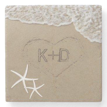 Valentines Themed Heart in the Sand Starfish Summer Beach Wedding Stone Coaster
