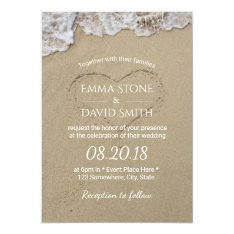 Heart In The Sand Summer Beach Wedding Card at Zazzle