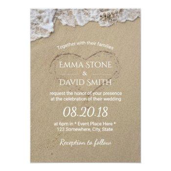 Heart In The Sand Summer Beach Wedding Card by myinvitation at Zazzle