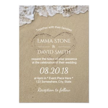 myinvitation Heart in the Sand Summer Beach Wedding Card