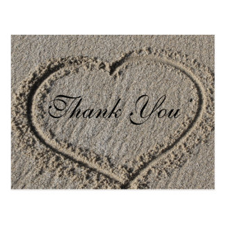 Heart in the Sand Thank you Postcard
