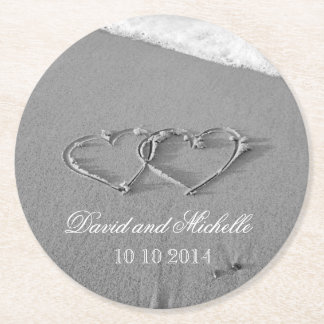 Heart in the sand wedding party paper coasters round paper coaster