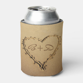 Heart in the Sand with Love Monograms Can Cooler