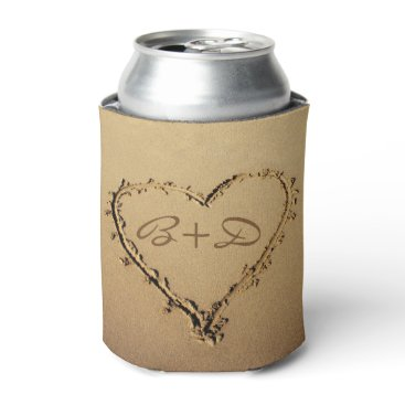 stdjura Heart in the Sand with Love Monograms Can Cooler