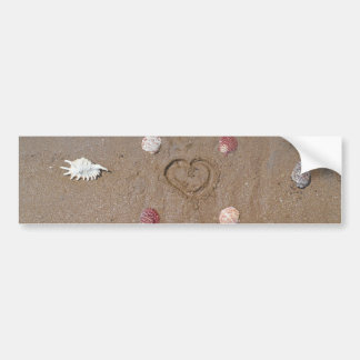 heart in the sand with shells bumper stickers
