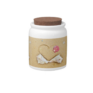 heart in the sand with shells candy jars