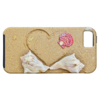 heart in the sand with shells iPhone 5/5S covers