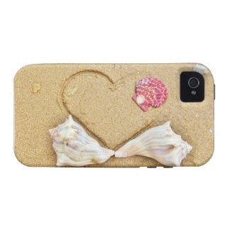 heart in the sand with shells iPhone 4 covers