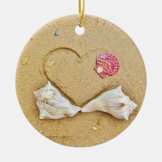 heart in the sand with shells ceramic ornament