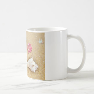heart in the sand with shells coffee mug