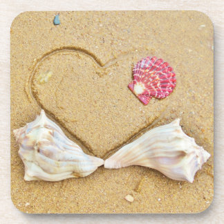 heart in the sand with shells coasters