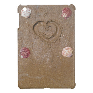 heart in the sand with shells cover for the iPad mini
