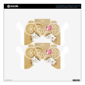 heart in the sand with shells PS3 controller skin