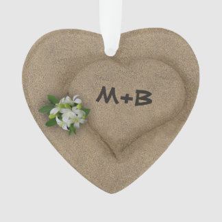 Heart in the Sand with your Initials Ornament