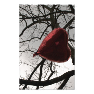 heart in the trees in the sky heart balloon custom stationery