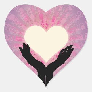 Heart in Your Hands Glowing Heart Sticker