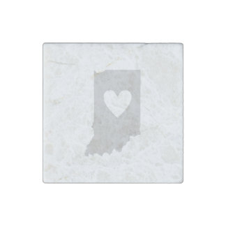 Heart Indiana state silhouette Stone Magnet