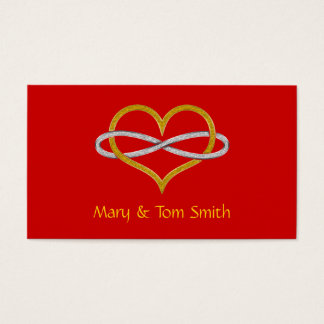 Heart Infinity Gold Silver Business Card