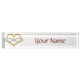 Heart Infinity Gold Silver Desk Nameplate